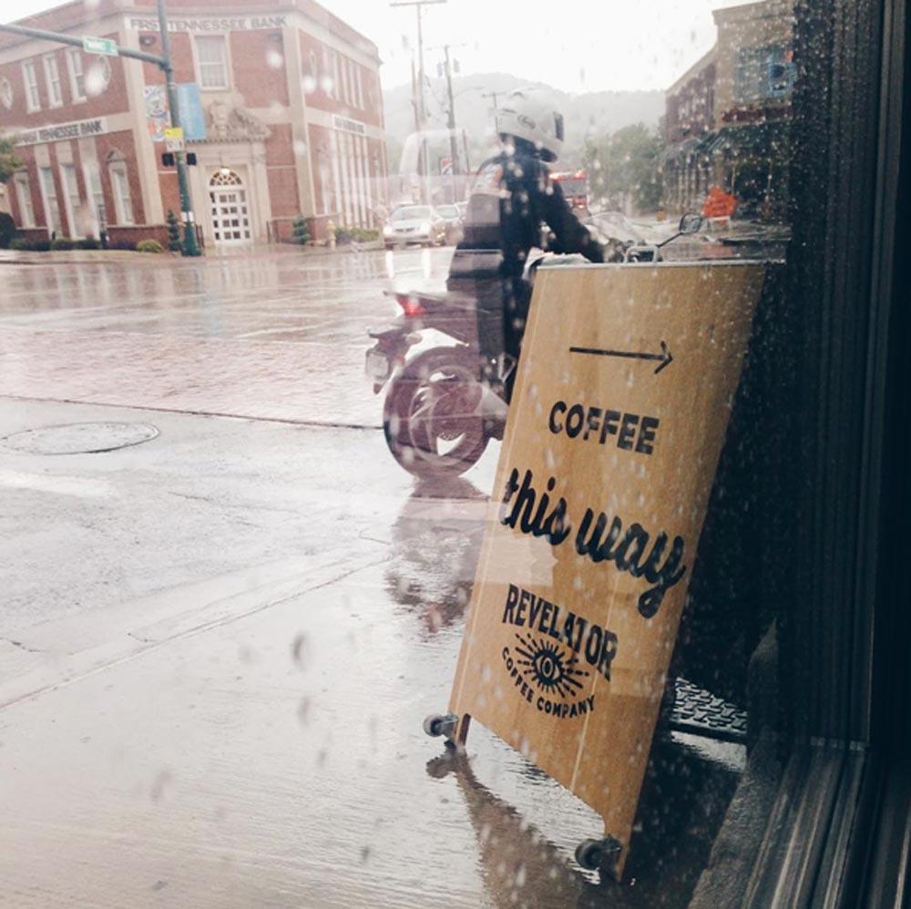Revelator Chattanooga modern coffee shop street view of sign