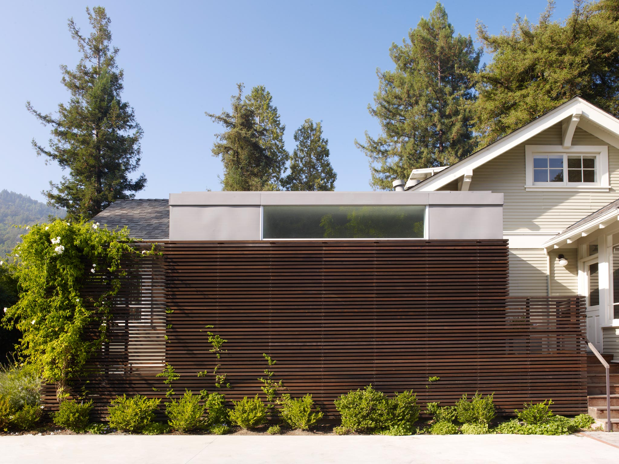 Larkspur modern design minimalist addition street view of building front