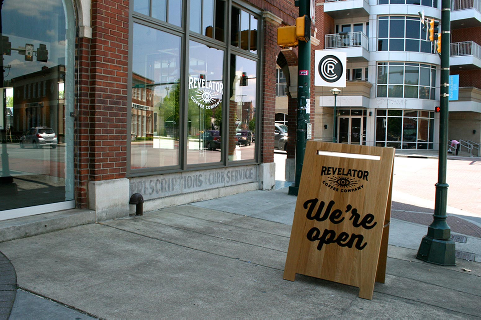 Revelator Chattanooga modern coffee shop street view of signage
