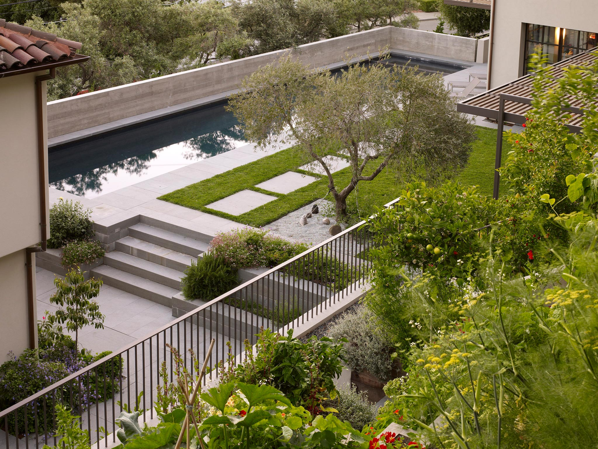 Claremont modern aesthetic pavillon house guest outside view of garden and pool