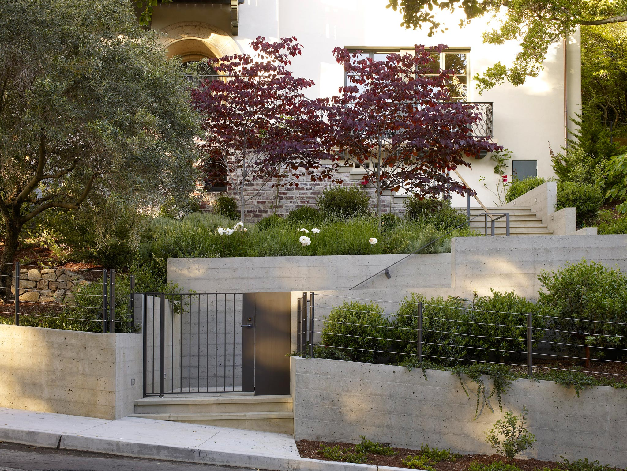 Claremont modern aesthetic pavillon house exterior view of front gate