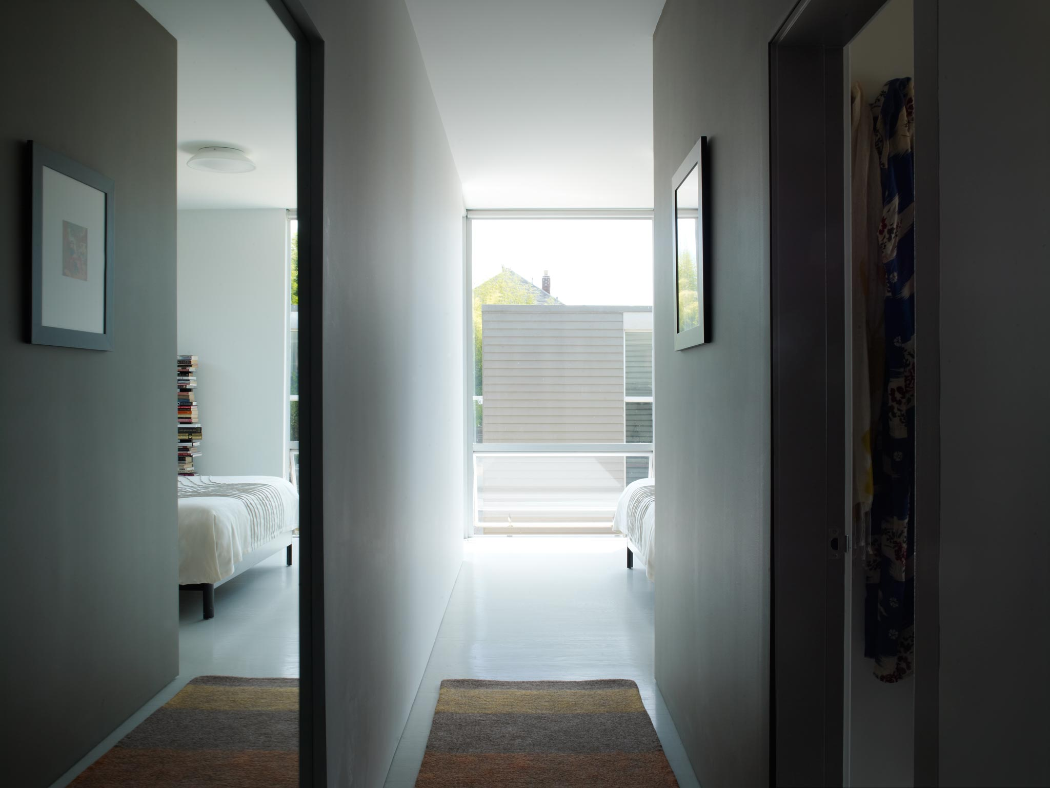 Oakland Urban modern master suite, roof deck and artist's studio interior view of halls