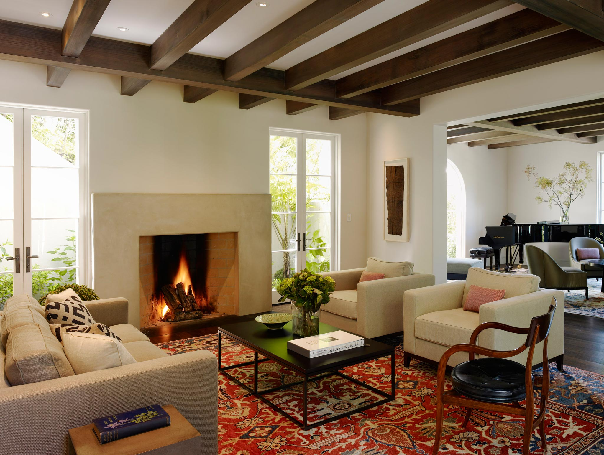 Claremont modern aesthetic pavillon house interior view of living room with fireplace