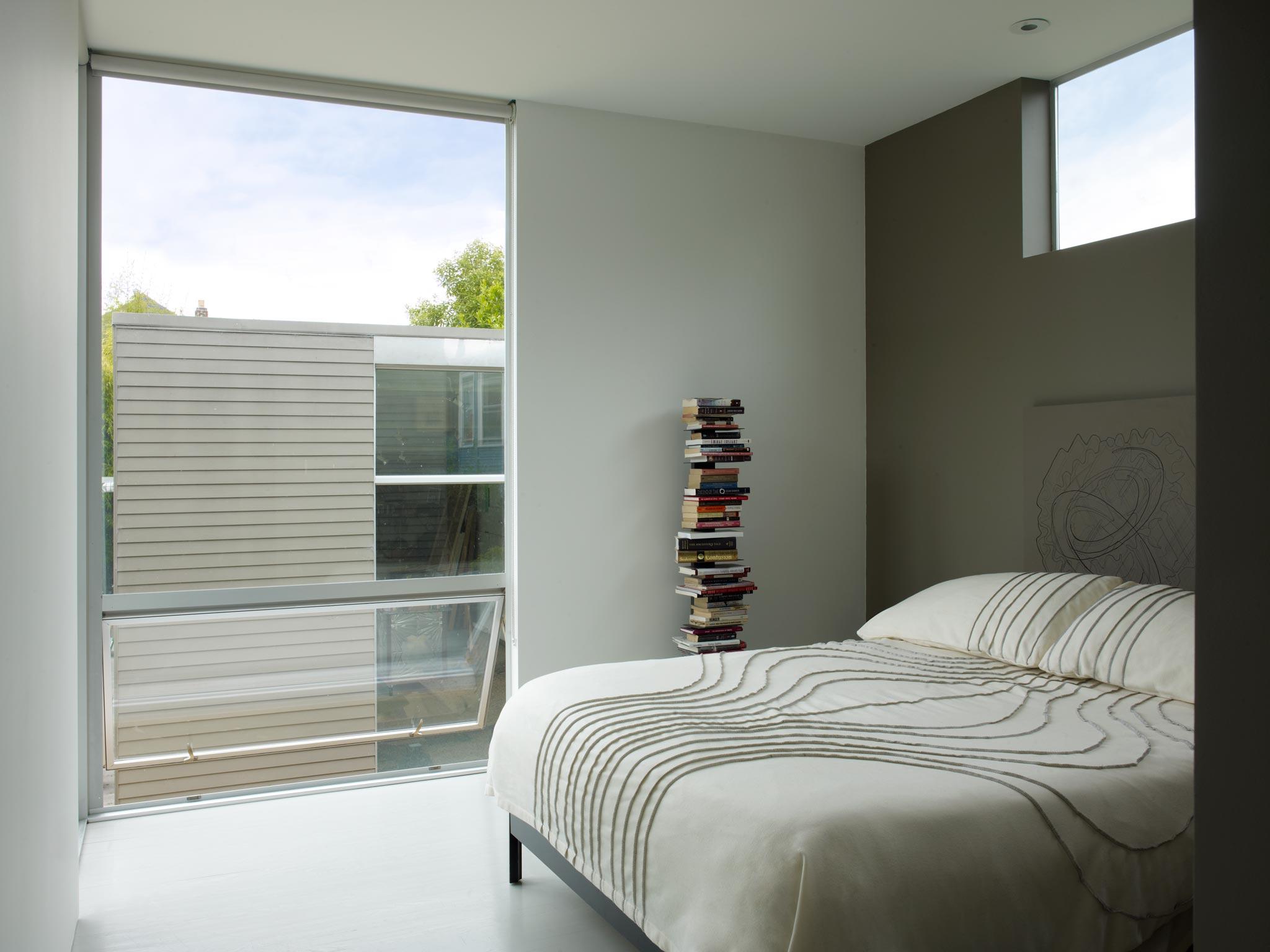 Oakland Urban modern master suite, roof deck and artist's studio interior view of bedroom