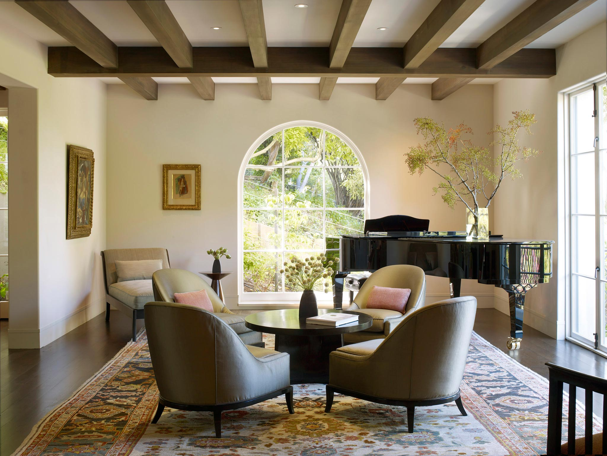 Claremont modern aesthetic pavillon house interior view of living space with piano