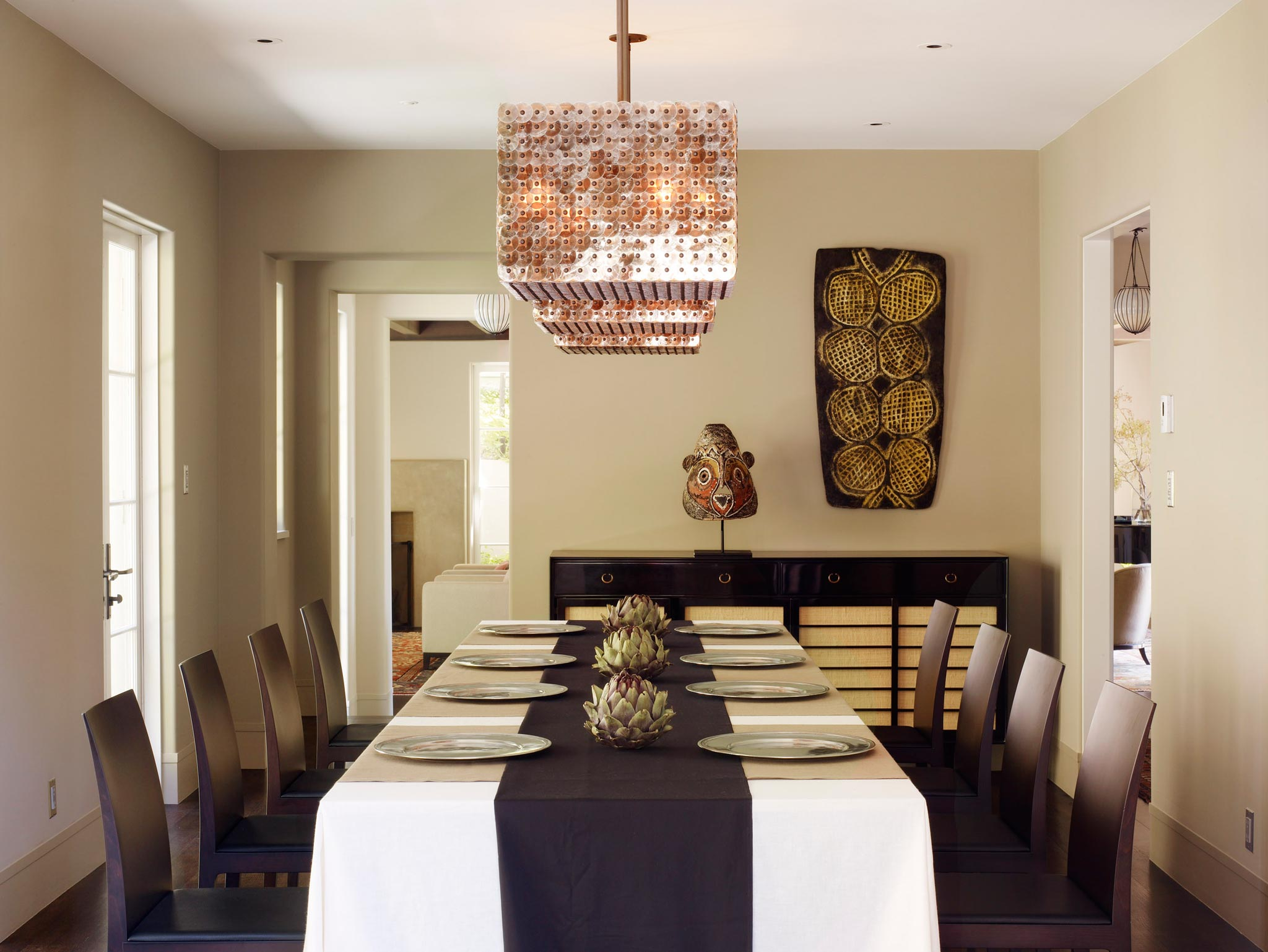 Claremont modern aesthetic pavillon house interior view of dining room with dining table