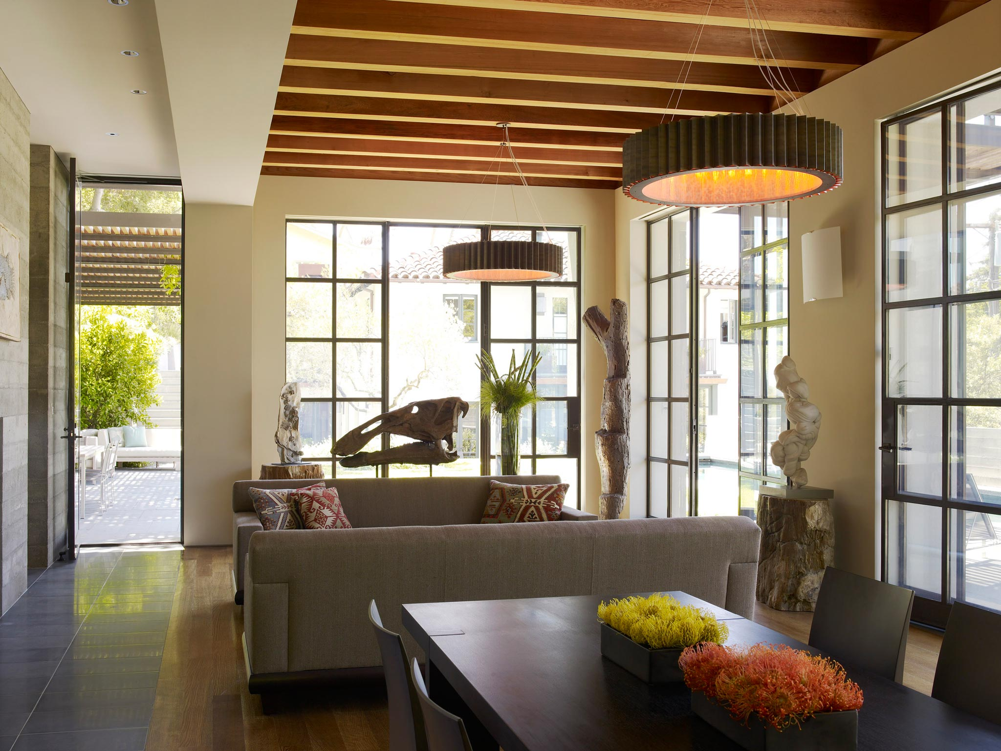 Claremont modern aesthetic pavillon house guest inside area of living space