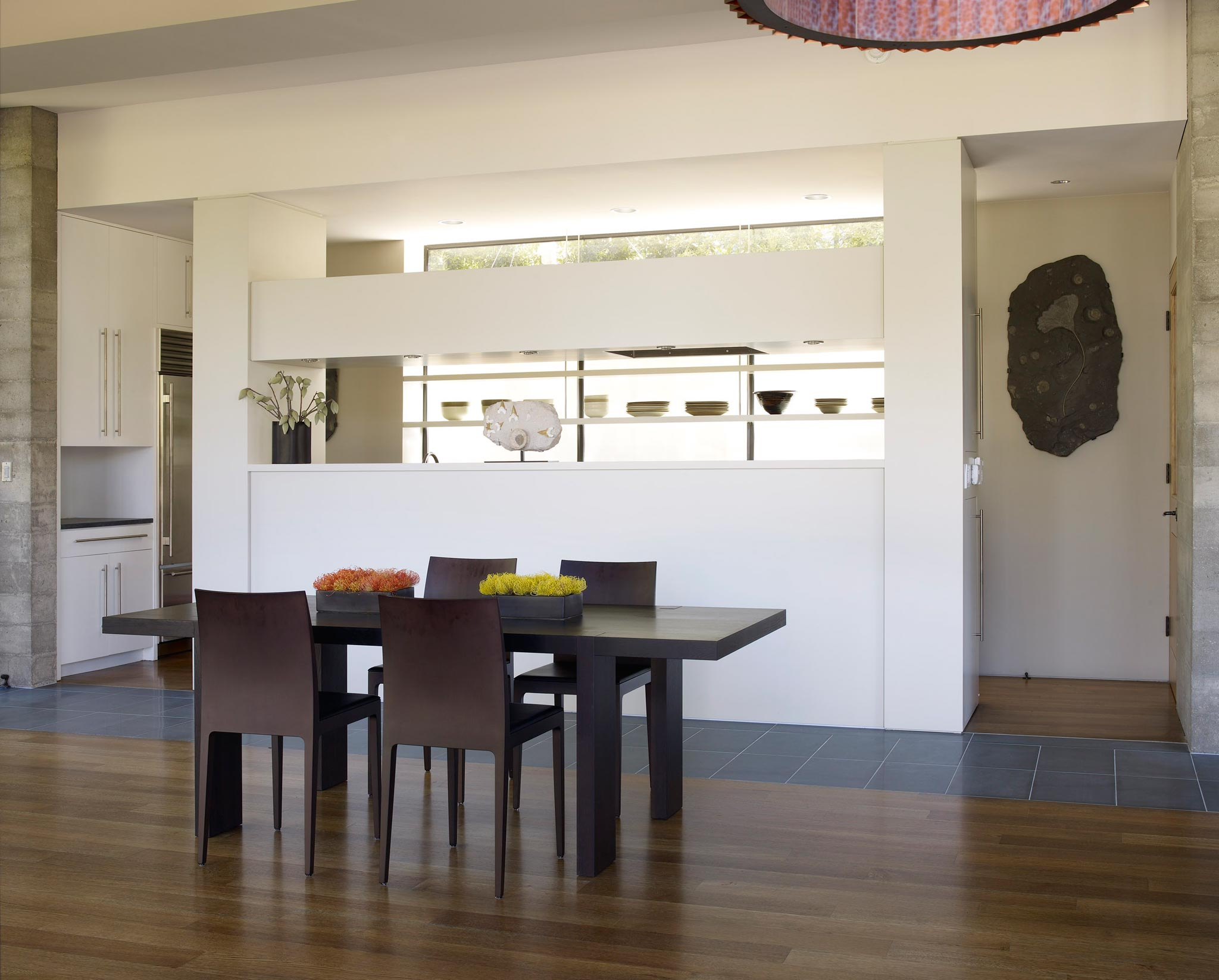 Claremont modern aesthetic pavillon house guest inside view of dining area
