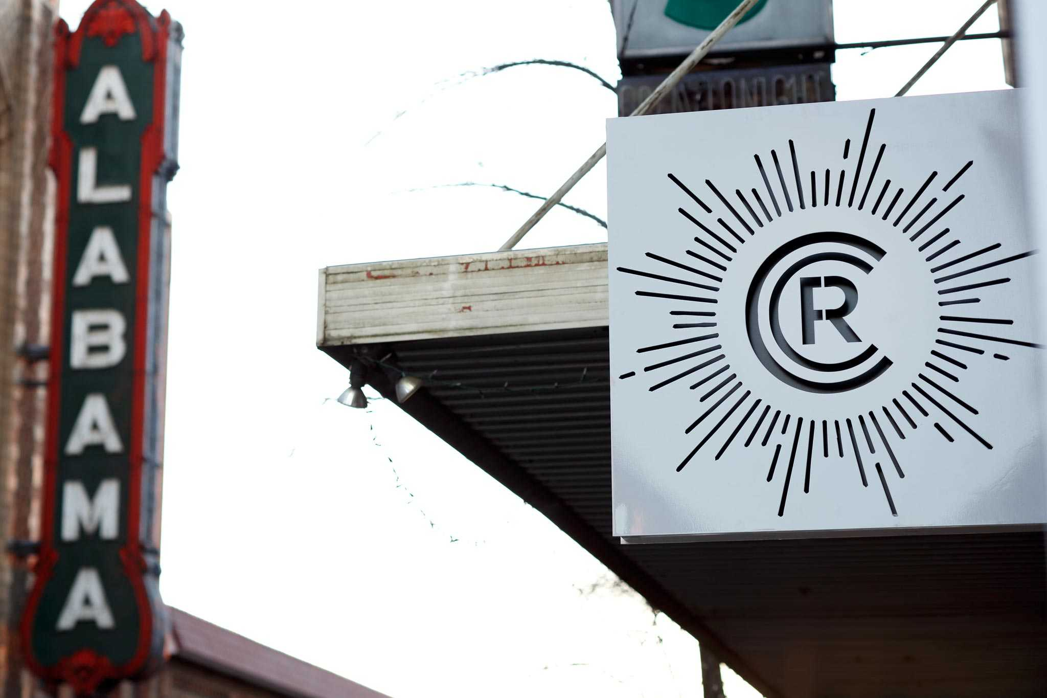 Revelator Birmingham modern coffee shop outside sign close up