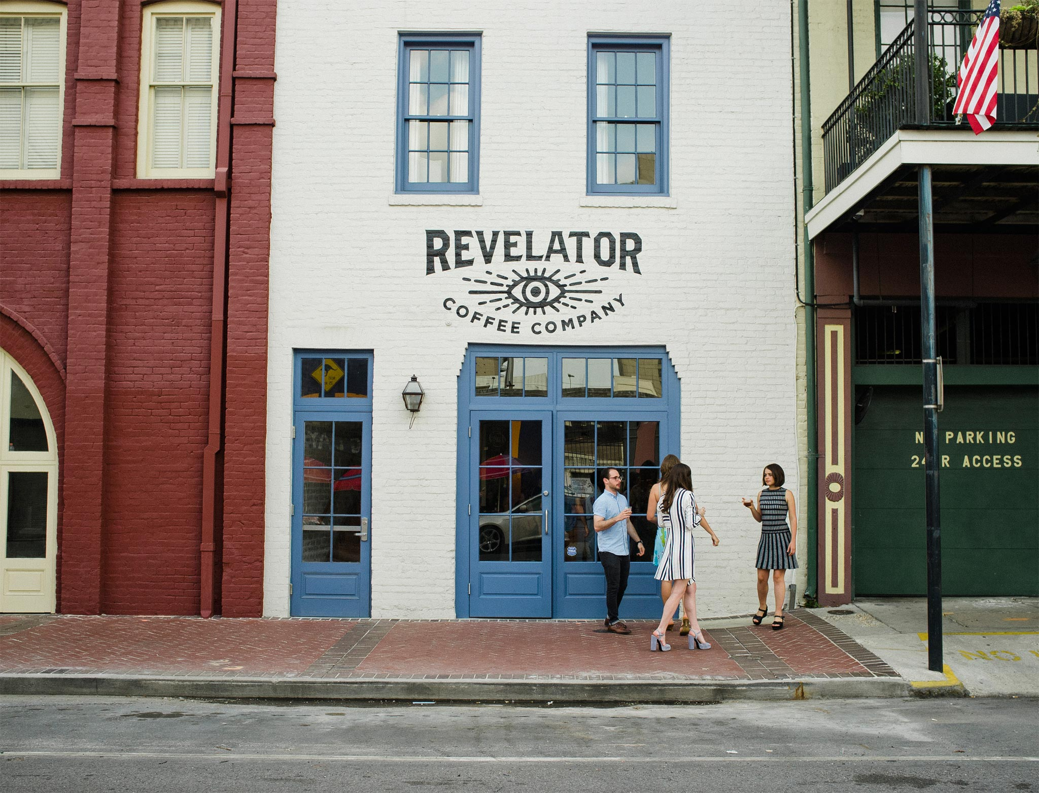Revelator New Orleans stylish coffee bar street view of signage