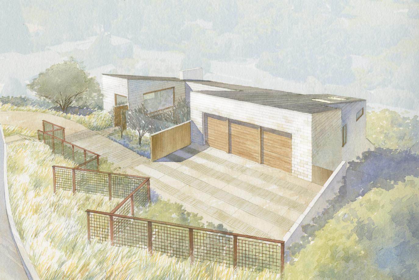 Silverado home in Napa Valley watercolor of aerial view