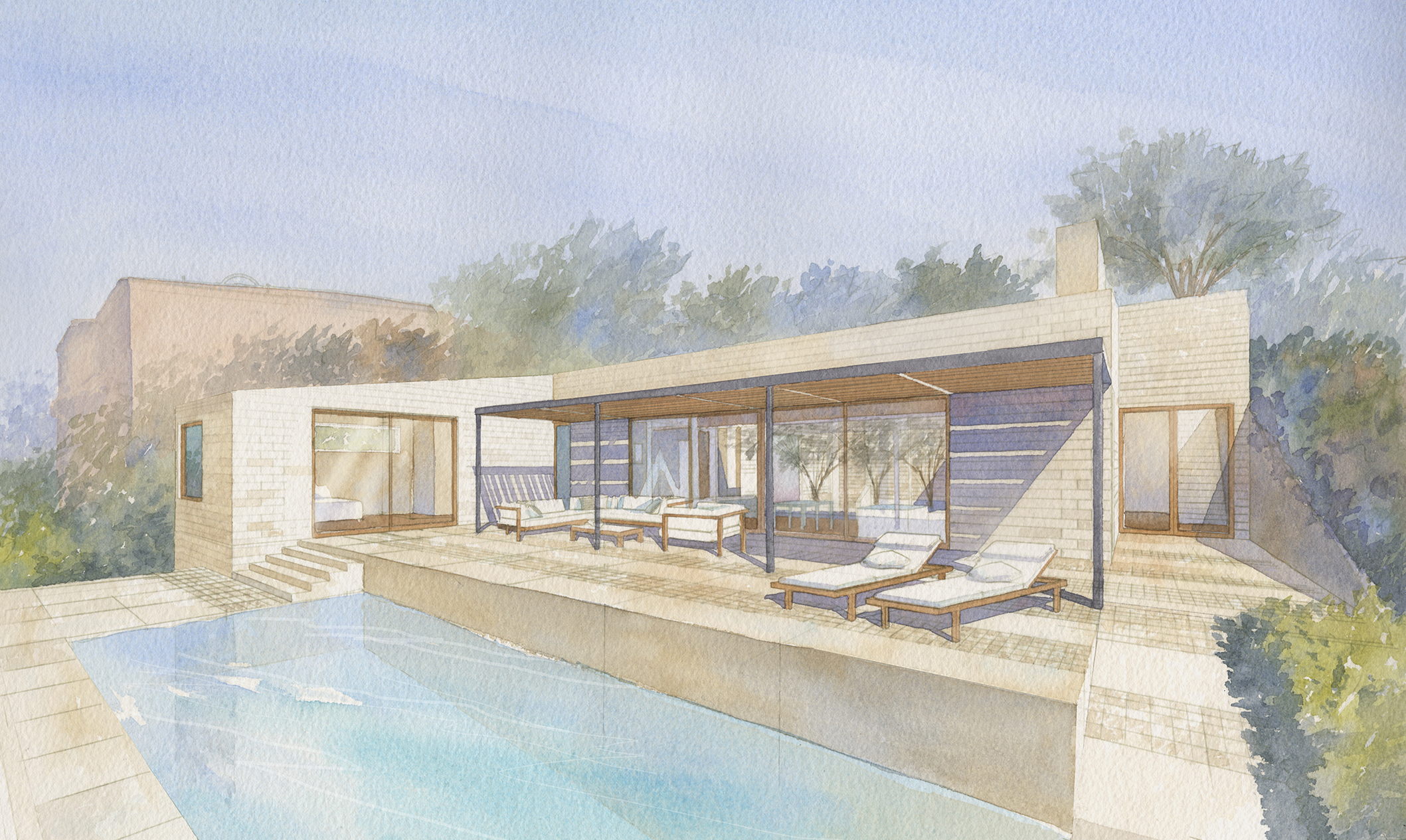 Silverado home in Napa Valley watercolor of outside view of house with pool